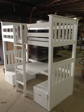 Bunk Bed with Under Table and Bench