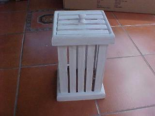 Small Slatted Bin With Top