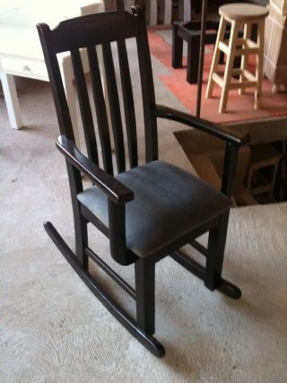 Rib Back Rocking Chair with Suede Cushion Seat