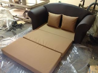 Nicky Sleeper Couch in Dark Brown Faux leather